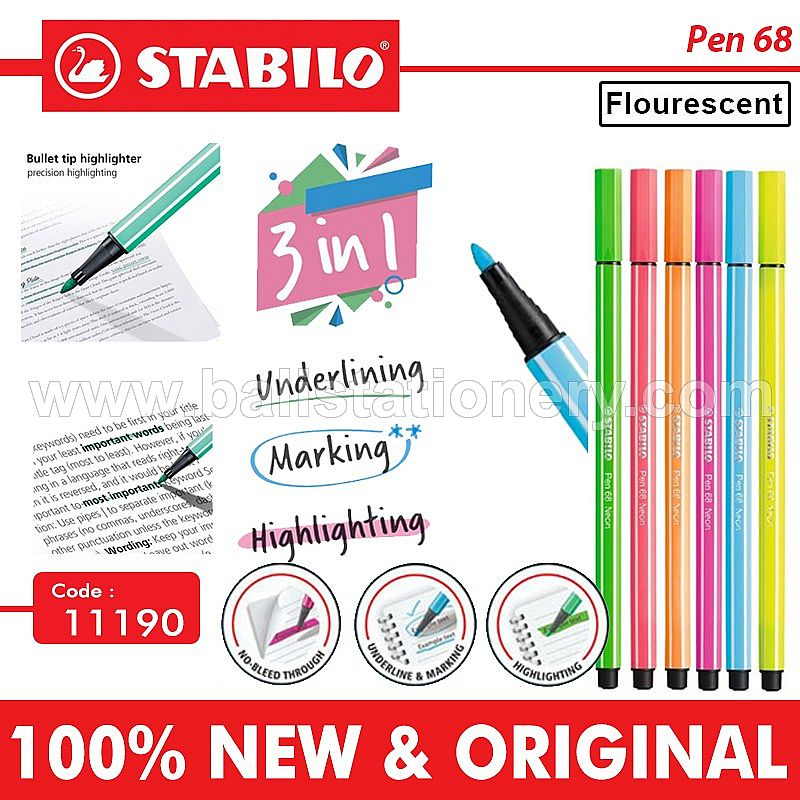 Highlighter pen Stabilo 68 flourencent